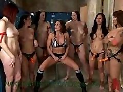 Awsome lesbo bare group battle on mat