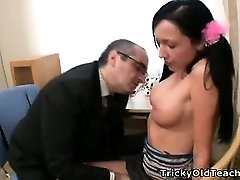Innocent coed gets fiercely romped by her tutor