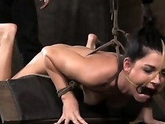 Frog tied bondage slut in wax play