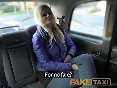 FakeTaxi Platinum-blonde gets backseat discount