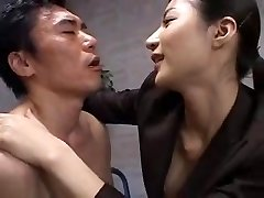 Tall asian office girl in control
