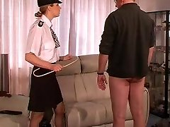 Gal UK Police Officer Punishes and Canes Stud
