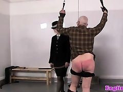 Police femdoms penalize pervert gimp with leather belts