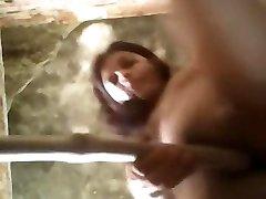 hot girl inserting lengthy bamboo