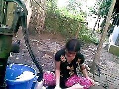 Bangla desi shameless village homie-Nupur bathing outdoor