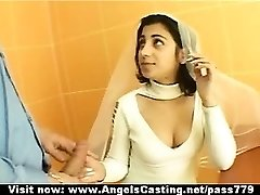 Sexy brunette hair indian bride talking with a chap