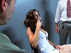 Busty slutty dark haired India Summer is gangbanged by 2 cops