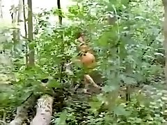 Cutie dressed as an indian sucks ding-dong in the woods
