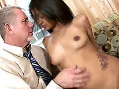 Delightful Indian beauty Ruby Rayes plays with ample cock of aged man