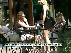Ashely and Brianna stunning lesbos kissing and flashing in public