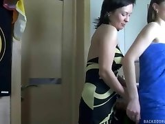 Lesbian anal intercourse in the douche