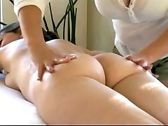 Lesbain Rubs Milf's Lactating Tits