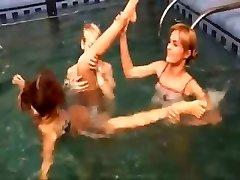 Trio european teenies in the pool