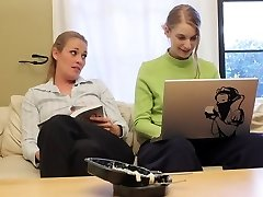 Girl-girl femmes fuck on the office flooor