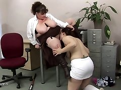 Massive titted mature teacher fucks a hot student honey