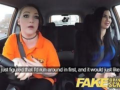 Fake Driving School Busty lesbo ex-con eats hot examiners