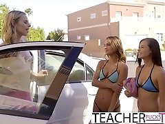 Lezzy Teacher Seduces Teen Students In Threeway