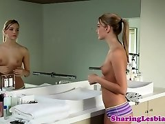 Elegant lesbian lovers pussylicking after bathtub