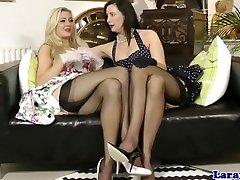 Brit glamour MILF in lingerie lez fun