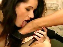 Laura Angel's high heels being licked