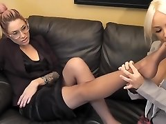 Student sniff and lick teachers nylon feet