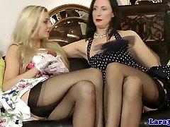 British erotic MILF in lingerie lez fun