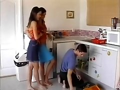 lesbians plumber and pummel him on the kitchen