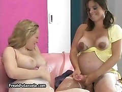 Horny pregnant girl shoots her spunk part4