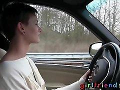 Girlfriends Cute gals explore lesbian fantasy on road trip