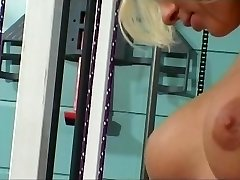 Lesbo sex act in the gym