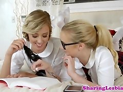 Sapphic schoolgirls scissor after fingering