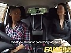 Fake Driving School busty dark-hued gal fails test with lesbian examiner