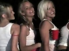 Hot blondes drinking and pummeling in lesbo orgy
