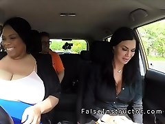 Immense ebony college girl licks driving examiner