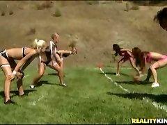 All female footballs teams munching fuckbox