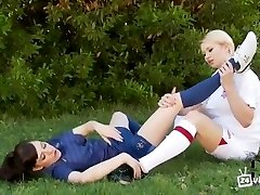 Soccer Girls Foot Play