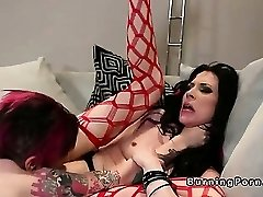 Fetish tattooed punk lesbos boning with strap on