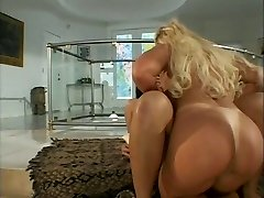 Blonde ridden hard by acquaintance with strap-on