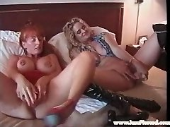 Pierced lesbian MUMMIES with huge toys stretching pussy