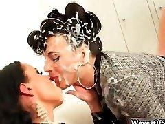 Horny brunette lesbos kissing