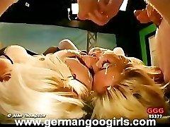 Platinum-blonde Lesbians Drinking Spunk While Fucking