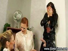 Three glamorous lesbians have fun bukkake games