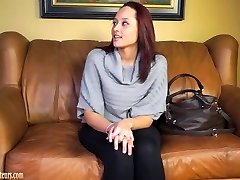 Unexperienced girls on casting couch go total girl-girl