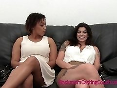 Busty BFFs Interracial 3some Casting