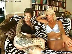 Inked lesbian granny pummeled