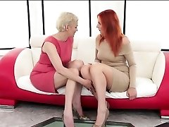 Russian redhead Eva Berger is degustating her very first granny pussy