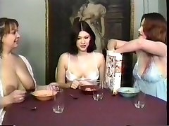 Milf maids having a breakfast and gulping milk from their own boobs