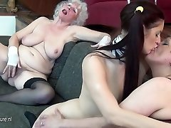 Young maid chick fucks 2 elderly timers