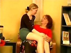 Horny grandmother taking advantage of her pretty granddaughter's mate