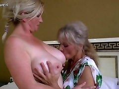 Girl-on-girl group sex with grandmas and young girls